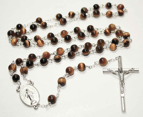 Tiger Eye Yellow Gemstone Silver Toned Rosary - Catholic Shoppe USA