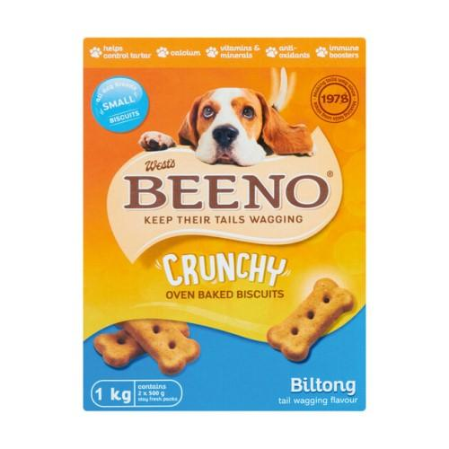 Beeno Small Biltong Flavoured Crunchy Dog Biscuits - 1KG