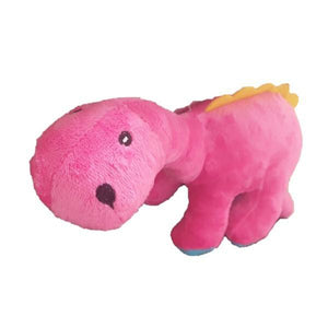 Two Dinosaur Plush Toy for Pets. In pink and blue.