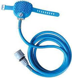 A blue pet bathing hose with a brush and faucet attached.