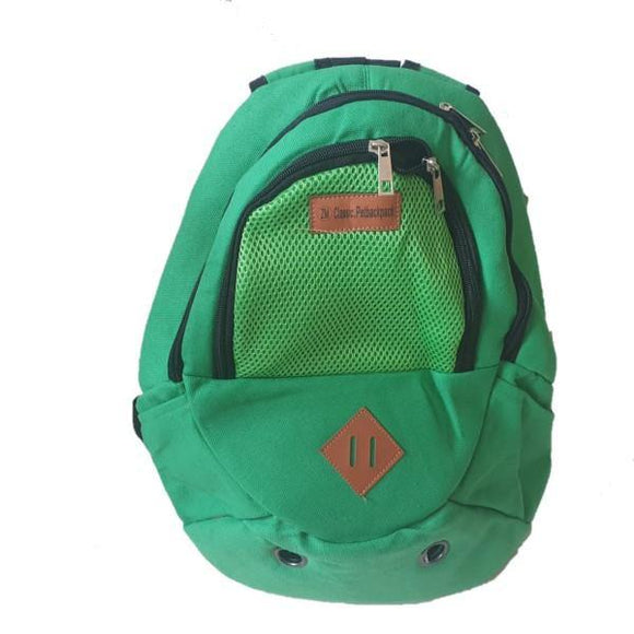 Green backpack carry bag for small pets.
