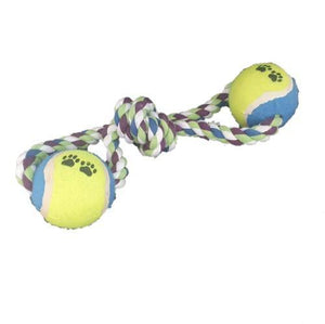 A rope dog toy with 2 tennis balls. There is knot in the middle.