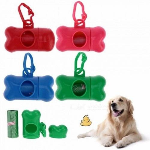 Pet Waste Bags with Dog Bone Holder - Assorted Colours