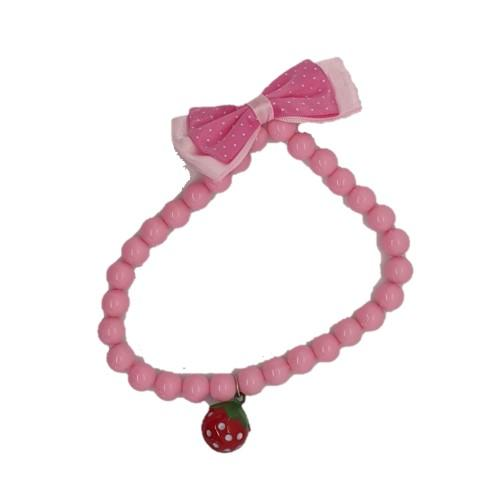Pink Bead Pet Collar with Bow & Bell - 4aPet