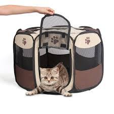 Foldable Portable Pet Playpen - Small. With a cat.