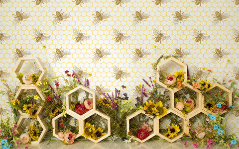 Floral Bee Hive 003