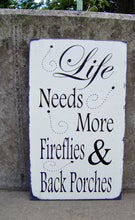 Load image into Gallery viewer, Porch Sign Distressed Wood Vinyl Sign Fireflies