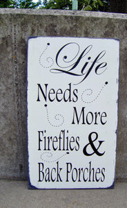 Porch Sign Distressed Wood Vinyl Sign Fireflies - Heartfelt Giver