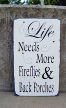 Load image into Gallery viewer, Porch Sign Distressed Wood Vinyl Sign Fireflies - Heartfelt Giver