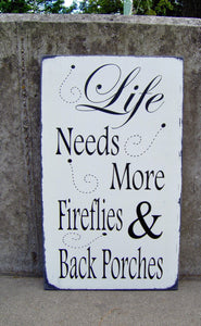 Porch Sign Distressed Wood Vinyl Sign Fireflies