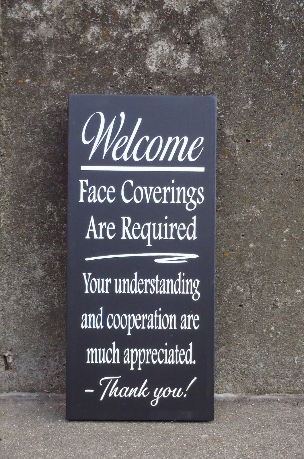 Mask Face Covering Required Wood Vinyl Wall Sign - Heartfelt Giver