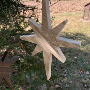 Christmas Star Wooden Tree Ornament Natural Handmade Gift