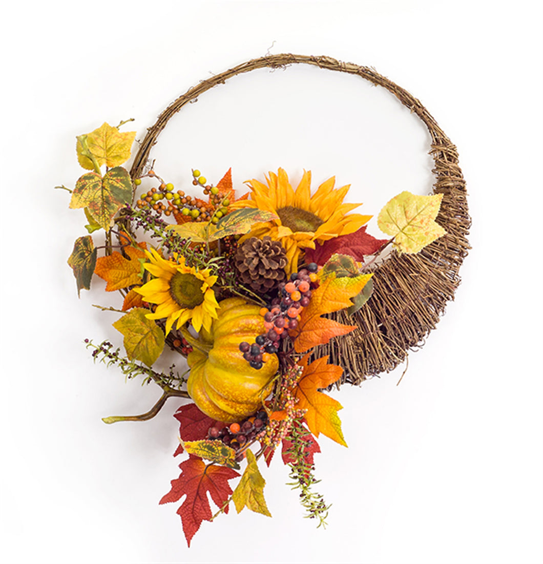 Sunflower Gourd Cornucopia Fall Front Door Wreath - Heartfelt Giver