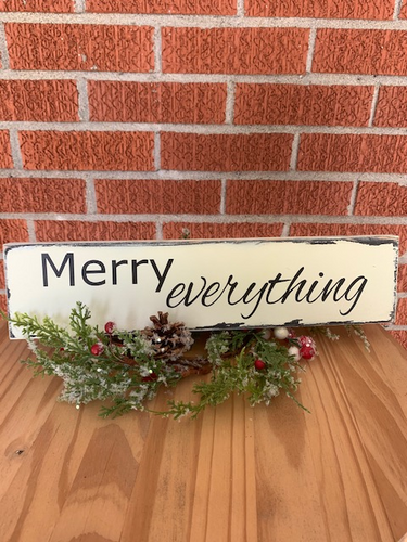 Merry Everything Wood Vinyl Sign Christmas Holiday Wall Decor