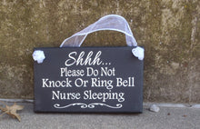 Load image into Gallery viewer, Nurse Night Shift Sign Do Not Knock Ring Bell Wood Vinyl Entry Signage
