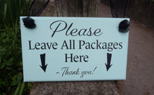 Load image into Gallery viewer, Please Leave Packages Here with Arrows Wood Vinyl Front Door Hanger Sign for Front Entryway Porch Outdoor Directional Signs Arrow Sign Yard