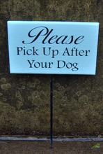 Load image into Gallery viewer, Please Pick Up After Dog Wood Vinyl Stake Sign Pet Supplies No Dog Poop Sign Dog Wood Sign Dog Sign Outdoor Garden Wood Sign Yard Wood Sign