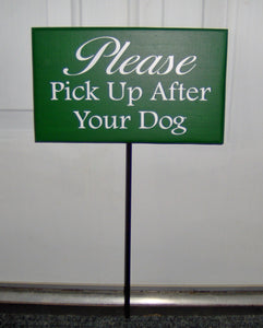 Please Pick Up After Dog Wood Vinyl Stake Sign Curb Pet Dog Sign Dog Decor Pet Supplies Front Yard Sign Yard Decor Lawn Sign Landscape Sign