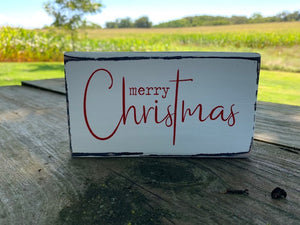 Wood Tier Tray Sign Merry Christmas Wooden Block Vinyl Table Top or Shelf Sitter Display Sign Holiday Home Decorations - Heartfelt Giver