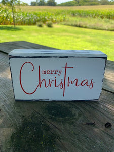 Wood Tier Tray Sign Merry Christmas Wooden Block Vinyl Table Top or Shelf Sitter Display Sign Holiday Home Decorations