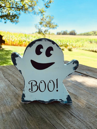 Halloween Decor Ghost Boo Wood Vinyl Sign