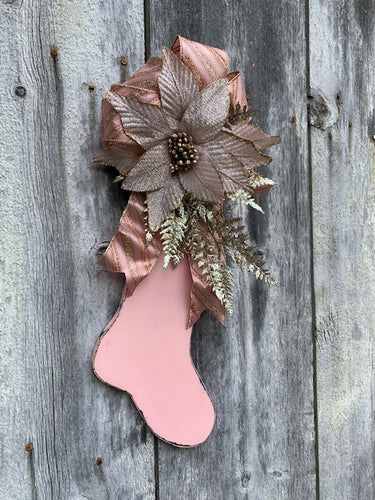 Pink Christmas Stocking Distressed Vintage Inspired - Heartfelt Giver