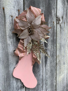 Pink Christmas Stocking Distressed Vintage Inspired