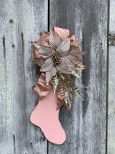 Load image into Gallery viewer, Pink Christmas Stocking Distressed Vintage Inspired