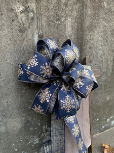 Winter Bow Wired Ribbon Accent Bow for Wreaths Centerpieces Lanterns Garlands Door Hanger - Heartfelt Giver