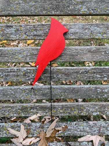 Cardinal Red Bird Handmade Wood Cutout Pick for Centerpieces or Planters or Bouquet - Heartfelt Giver