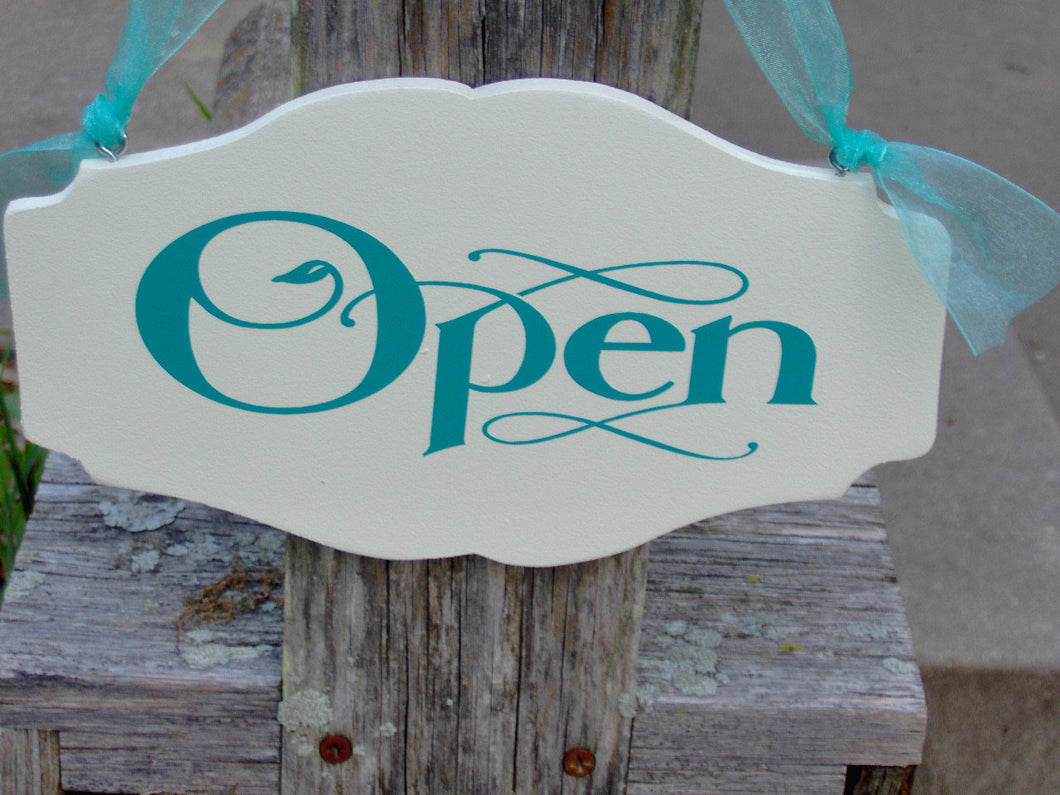 Open Closed Wood Vinyl Sign Two Sided Sign Store Shop Beauty Salon Spa Business Office Supply Doctor Health Professional Welcome Come In