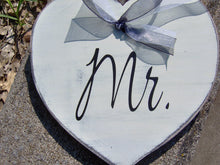 Load image into Gallery viewer, Wedding Mr. Mrs. Hearts Farmhouse Distressed Wood Signs Vinyl Bride Goom Wedding Gift Wedding Shower Giftware Chair Hanger Wedding Decor