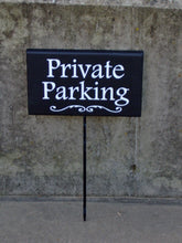 Load image into Gallery viewer, Private Parking Sign Wood Vinyl Stake Sign Custom Signs for Driveways Yards Gardens for Homes and Businesses