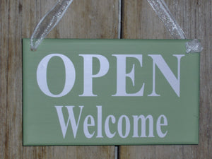 Open Welcome Closed Please Come Again Reversible 2 Sided Wood Vinyl Business Signage Office Decor Front Entryway Door Sign Window Sign Decor - Heartfelt Giver