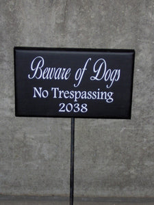 Beware Of Dogs No Trespassing Wood Vinyl Stake Rod Sign House Number Address Porch Yard Garden Private Residence Do Not Disturb USA Made