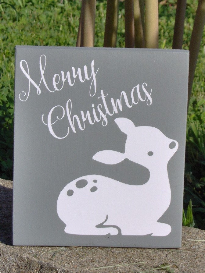 Merry Christmas Wood Block Vinyl Sign Fawn Silhouette Winter Doe Fawn Holiday Ornament Home Decor Accent Wall Hang Shelf Sitter Tree Decor