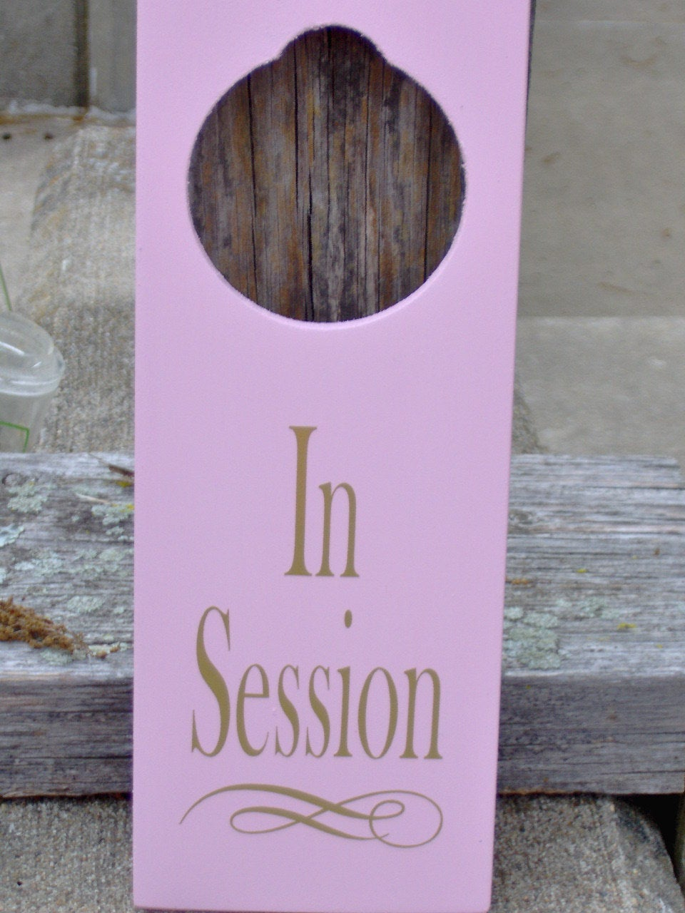 In Session Sign Door Knob Hanger Wood Vinyl Pink Home Office Supply Spa Salon Massage Therapy Health Wellness New Business Signage Decor - Heartfelt Giver
