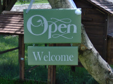 Load image into Gallery viewer, Whimsy Green Open Welcome Closed Please Come Again Double Side Two Tier Wood Vinyl Sign Business Sign Office Supply Door Hanger Welcome