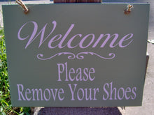 Load image into Gallery viewer, Welcome Sign Please Remove Shoes Wood Vinyl Sign Front Porch Sign Take Off Shoes No Shoes Allowed Door Hanger Wall Decor Door Decor Home Art