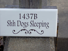 Load image into Gallery viewer, House Number Plaque Shh Dogs Sleeping Wood Vinyl Sign Custom Dog Sign Address Apartment Number Dog Lover Gift Dog Decor Pet Signs For Home