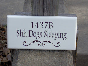 House Number Plaque Shh Dogs Sleeping Wood Vinyl Sign Custom Dog Sign Address Apartment Number Dog Lover Gift Dog Decor Pet Signs For Home