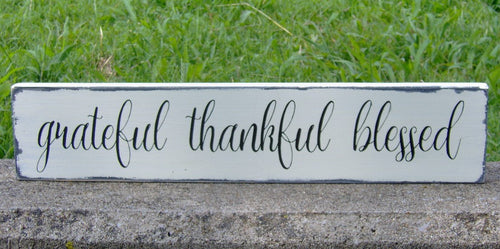 Distressed Rustic Home Decor Grateful Thankful Blessed Wood Sign Vinyl Gathering  Country Farmhouse Market Shabby Chic Primitive Porch Sign - Heartfelt Giver