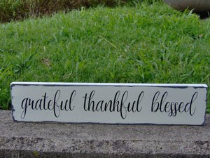Distressed Rustic Home Decor Grateful Thankful Blessed Wood Sign Vinyl Gathering  Country Farmhouse Market Shabby Chic Primitive Porch Sign