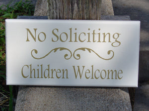 No Soliciting Children Welcome Wood Sign Vinyl Home Entry Door Decor Sign Porch Girl Scouts Boy Scouts Outdoor Sign Gold Word Art Yard Sign - Heartfelt Giver