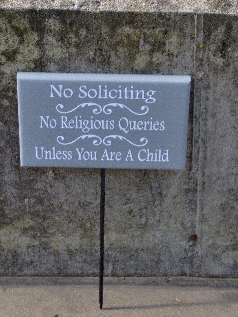 No Soliciting No Religious Queries Unless Child Wood Vinyl Stake Sign Girl Scouts Boy Scouts Porch Plaque Porch Sign Family Home Decor Sign