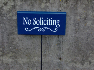 No Soliciting Sign Decorative Swirl Design Wood Sign Vinyl Rod Stake Yard Sign Navy Blue Plaque Handmade Signs Porch Signs Entry Signs Door