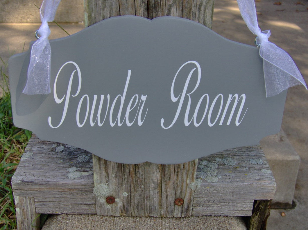 Bathroom Sign Powder Room Sign Wood Vinyl Scallop Design Restroom Man Women Unisex Home Door Decor Direction Restruant Business Office Sign