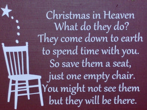 Christmas In Heaven Seat Chair Wood Vinyl Sign Front Door Wreath Sign Holiday Memories Spirit Wall Hanging Ornament Giftware Unique Gift Art