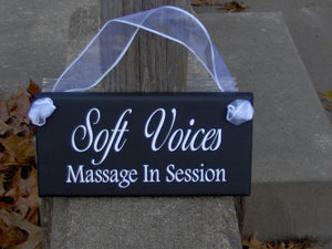 Soft Voices Massage In Session Wood Sign Vinyl Door Hanger Business Office Supplies Massage Wall Sign Therapy Service In Progress Door Sign