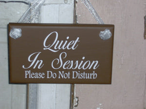 Quiet In Session Please Do Not Disturb Wood Vinyl Sign Bath Beauty Massag Treatment Salon Spa Hair Business Therapy Doctor Door Wall Hanging - Heartfelt Giver